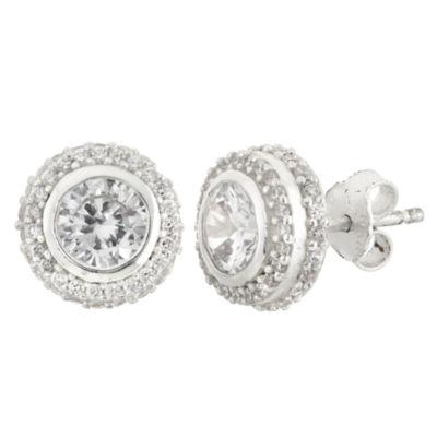 Diamonart 3 CT. T.W. White Cubic Zirconia Sterling Silver 10mm Stud Earrings