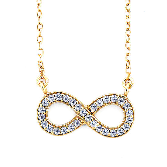 Diamonart Womens 3/8 CT. T.W. White Cubic Zirconia 18K Gold Over Silver Infinity Pendant Necklace