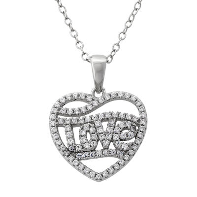 Diamonart Womens 1 CT. T.W. White Cubic Zirconia Sterling Silver Heart Pendant Necklace