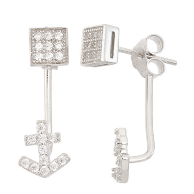 Diamonart 3/8 CT. T.W. Round White Cubic Zirconia Sterling Silver Stud Earrings