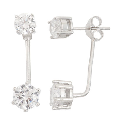 Diamonart 5 1/2 CT. T.W. White Cubic Zirconia Sterling Silver 16mm Stud Earrings