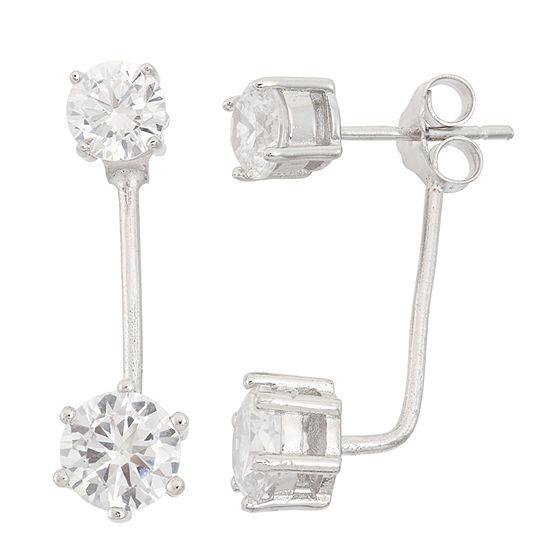 Diamonart 5 1/2 CT. T.W. White Cubic Zirconia Sterling Silver 16mm Stud Earrings