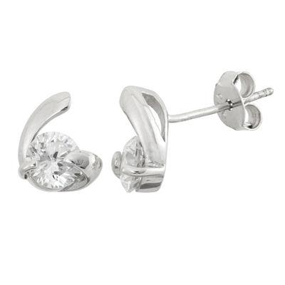 Diamonart 1 3/4 CT. T.W. Round White Cubic Zirconia Sterling Silver Stud Earrings