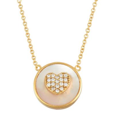 Diamonart Womens 3 1/2 CT. T.W White Cubic Zirconia 18K Gold Over Silver Pendant Necklace