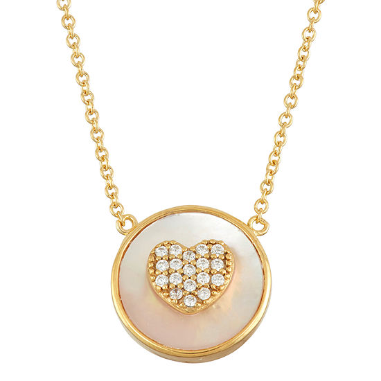 Diamonart Womens 3 1/2 CT. T.W White Cubic Zirconia 18K Gold Over Silver Heart Pendant Necklace