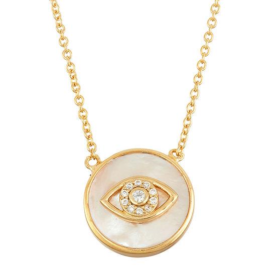 Diamonart Womens 2 1/4 CT. T.W. White Cubic Zirconia 18K Gold Over Silver Pendant Necklace