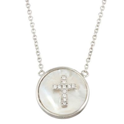 Diamonart Womens 2 1/4 CT. T.W. White Cubic Zirconia Sterling Silver Cross Pendant Necklace