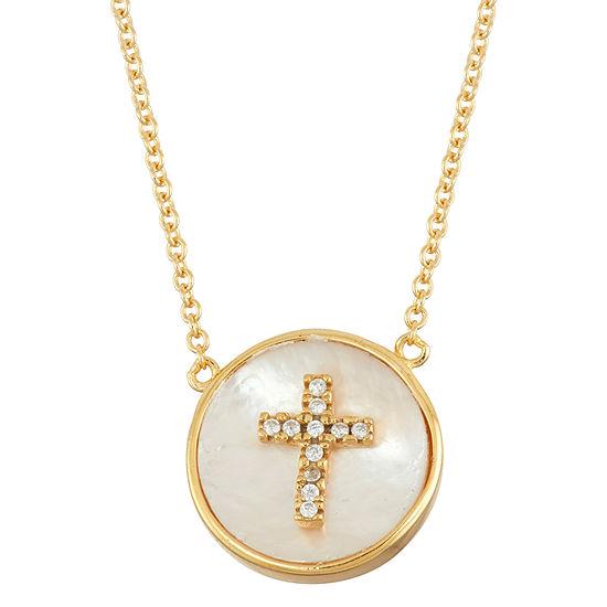 Diamonart Womens 2 1/4 CT. T.W. White Cubic Zirconia 18K Gold Over Silver Cross Pendant Necklace