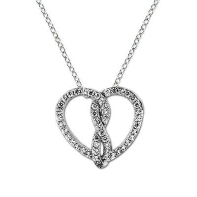 Diamonart Womens 3/4 CT. T.W. White Cubic Zirconia Sterling Silver Heart Pendant Necklace