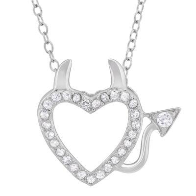 Diamonart Womens 1/2 CT. T.W. White Cubic Zirconia Sterling Silver Heart Pendant Necklace