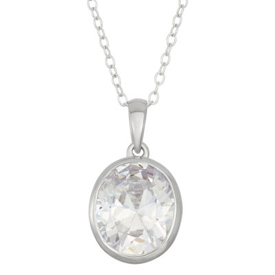 Diamonart Womens Greater Than 6 CT. T.W. White Cubic Zirconia Sterling Silver Pendant Necklace