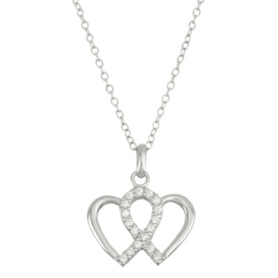Womens 1/5 CT. T.W. White Cubic Zirconia Sterling Silver Heart Pendant Necklace