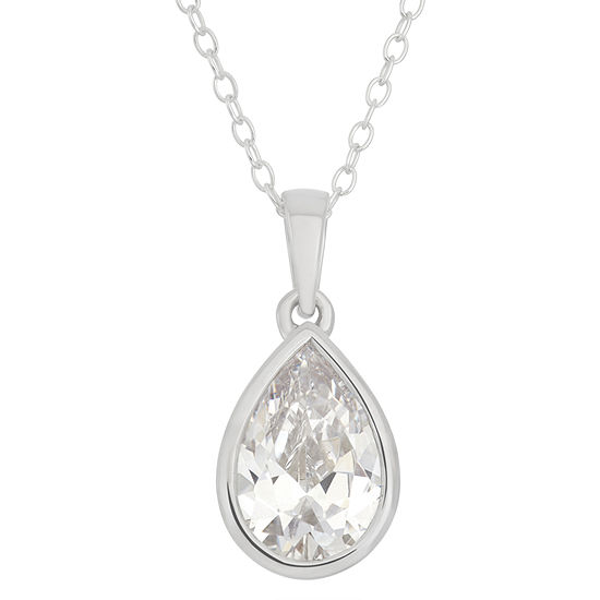 Womens 4 1 4 Ct Tw White Cubic Zirconia Sterling Silver Pear Pendant Necklace