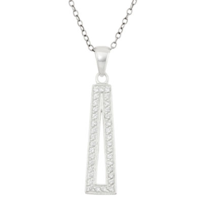 Womens 3/4 CT. T.W. White Cubic Zirconia Sterling Silver Triangle Pendant Necklace