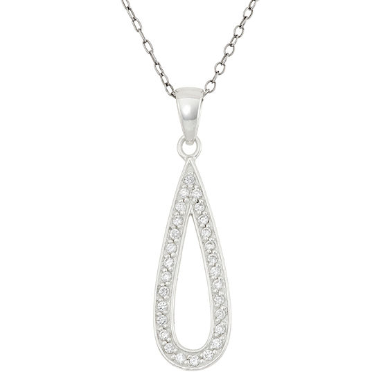 Womens 3 4 Ct Tw White Cubic Zirconia Sterling Silver Pear Pendant Necklace