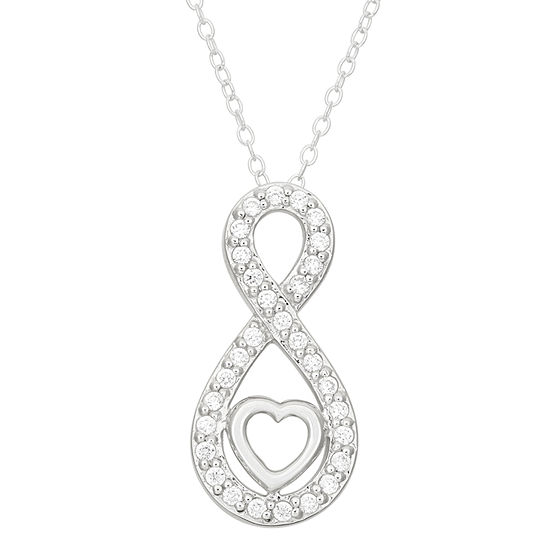 Womens 3/4 CT. T.W. White Cubic Zirconia Sterling Silver Infinity Pendant Necklace