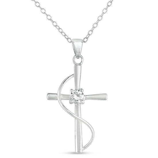 Womens 1/2 CT. T.W. White Cubic Zirconia Sterling Silver Cross Pendant Necklace