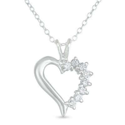 Womens 3/4 CT. T.W. White Cubic Zirconia Sterling Silver Heart Pendant Necklace