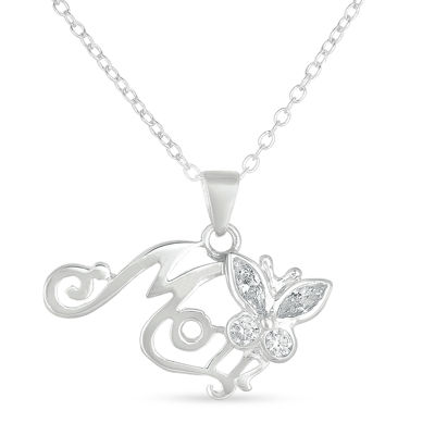 Womens 1/2 CT. T.W. White Cubic Zirconia Sterling Silver Butterfly Pendant Necklace
