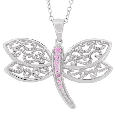 Womens 1/3 CT. T.W. Pink Cubic Zirconia Sterling Silver Butterfly Pendant Necklace