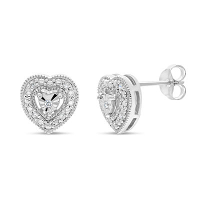 1/10 CT. T.W. White Cubic Zirconia Sterling Silver 9mm Stud Earrings