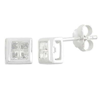 2 CT. T.W. White Cubic Zirconia Sterling Silver 7mm Stud Earrings