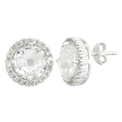 Diamonart Greater Than 6 CT. T.W. Cubic Zirconia Sterling Silver 12mm Stud Earrings