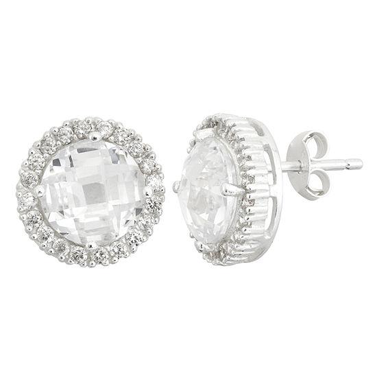 DiamonArt® Cubic Zirconia Sterling Silver 12mm Stud Earrings
