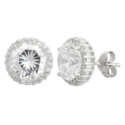 Diamonart Greater Than 6 CT. T.W. Round White Cubic Zirconia Sterling Silver Stud Earrings