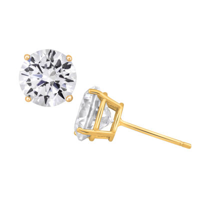 Diamonart 6 CT. T.W. White Cubic Zirconia 18K Gold Over Silver 8mm Stud Earrings