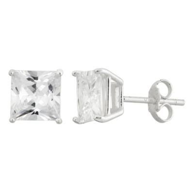 Diamonart 4 3/4 CT. T.W. White Cubic Zirconia Sterling Silver 7mm Stud Earrings