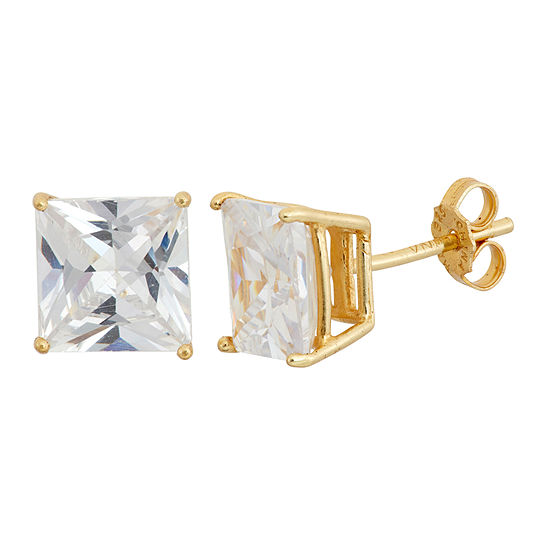 Diamonart White Cubic Zirconia 18K Gold Over Silver 8mm Stud Earrings