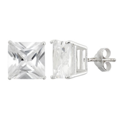 Diamonart Greater Than 6 CT. T.W. Princess White Cubic Zirconia Sterling Silver Stud Earrings
