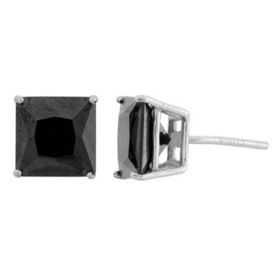 Diamonart Greater Than 6 CT. T.W. Black Cubic Zirconia Sterling Silver 8mm Stud Earrings