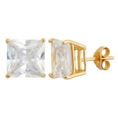 Diamonart White Cubic Zirconia 18K Gold Over Silver 10mm Stud Earrings