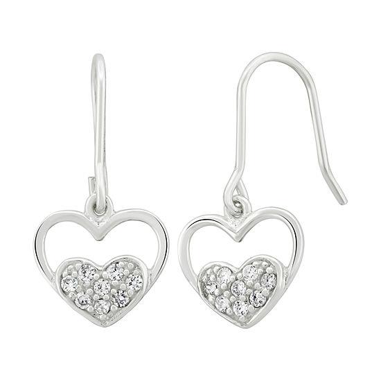 Diamonart 1/3 CT. T.W. White Cubic Zirconia Sterling Silver Drop Earrings
