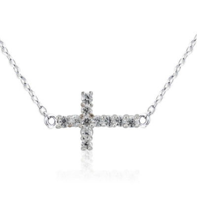Diamonart Womens 1/2 CT. T.W. White Cubic Zirconia Sterling Silver Pendant Necklace