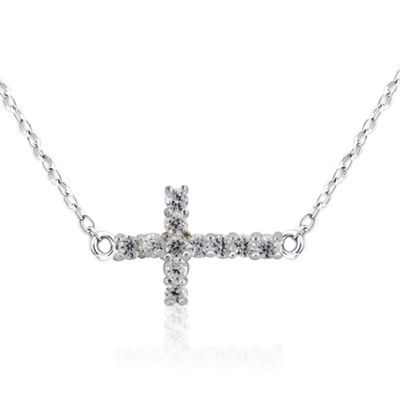 Diamonart Womens 1/2 CT. T.W. White Cubic Zirconia Sterling Silver Cross Pendant Necklace
