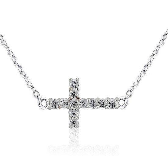 Diamonart Womens 1 2 Ct Tw White Cubic Zirconia Sterling Silver Cross Pendant Necklace
