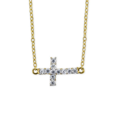 Diamonart Womens 1/2 CT. T.W. White Cubic Zirconia 18K Gold Over Silver Cross Pendant Necklace