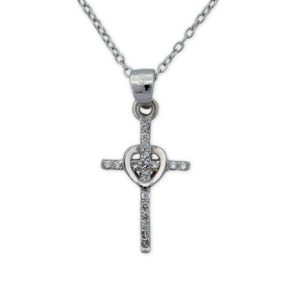 Diamonart Womens 1/3 CT. T.W. White Cubic Zirconia Sterling Silver Cross Pendant Necklace
