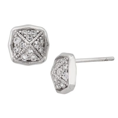 Diamonart 5/8 CT. T.W. White Cubic Zirconia Sterling Silver 10.8mm Stud Earrings