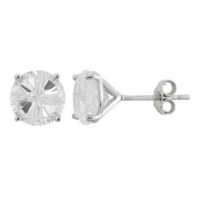 Diamonart White Cubic Zirconia Sterling Silver 8mm Stud Earrings