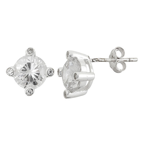 Diamonart 6 CT. T.W. White Cubic Zirconia Sterling Silver 9mm Stud Earrings