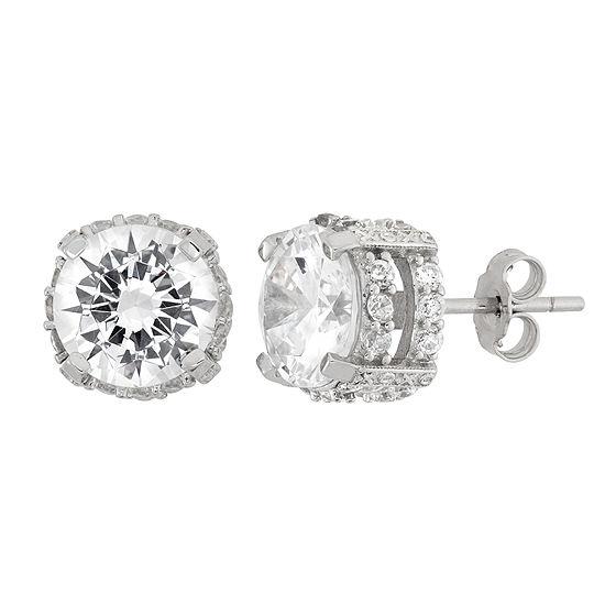 DiamonArt® White Cubic Zirconia Sterling Silver 9mm Stud Earrings