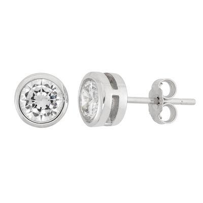 Diamonart 1/7 CT. T.W. White Cubic Zirconia Sterling Silver 6.4mm Stud Earrings