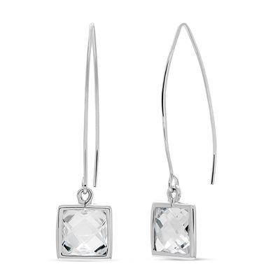 Diamonart White Cubic Zirconia Sterling Silver Drop Earrings