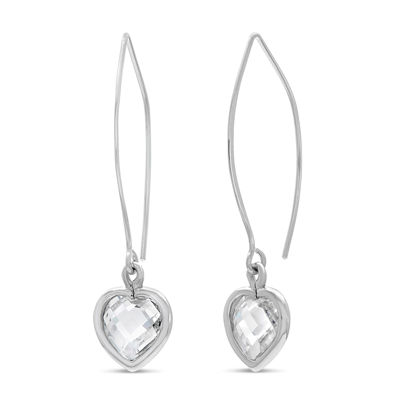 Diamonart Greater Than 6 CT. T.W. White Cubic Zirconia Sterling Silver Drop Earrings