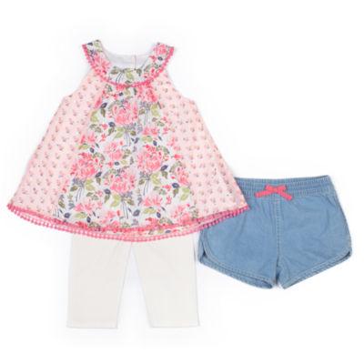 Little Lass 3-pc. Legging Set-Toddler Girls