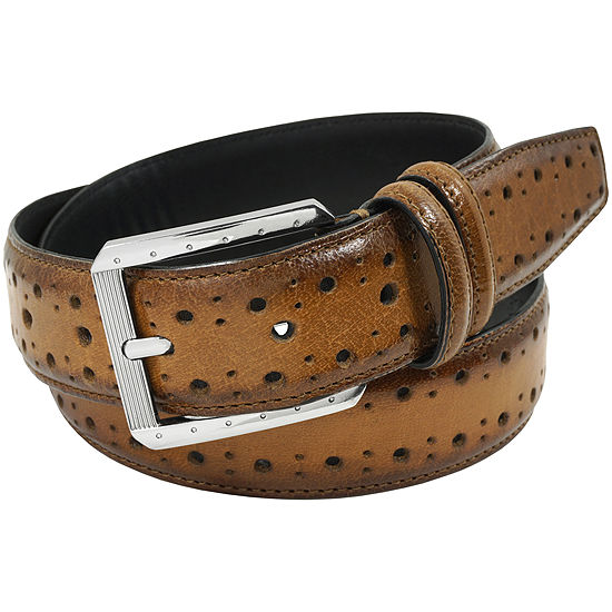 Stacy Adams® Brogue Detailed 34MM Leather Belt